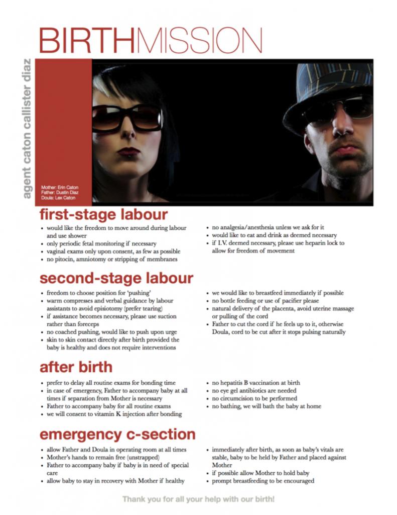 Screenshot of highly over designed birth plan.